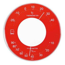 【マラソンでポイント最大44倍】EMPEX 温度・湿度計 セレナカラー 丸型 置き掛け兼用 LV-4355 レッド