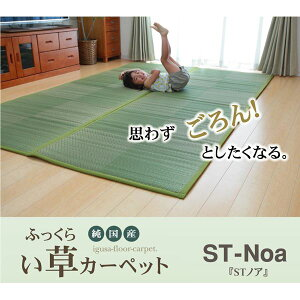純国産い草花ござ『STノア』グリーン江戸間6畳(約261×352cm)(裏:ソフトテック15mm)