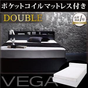 棚・コンセント付き収納ベッド【VEGA】ヴェガ【ポケットコイルマットレス:レギュラー付き】ダブルブラック