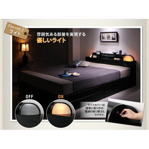 収納ベッドダブル【Potential】【デュラテクノマットレス付き】ブラック棚・ライト・コンセント付き多機能収納ベッド【Potential】ポテンシャル【代引不可】