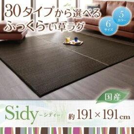 ラグマット 191×191cm【Sidy】ブラウン 30タイプから選べる国産ふっくらい草ラグ【Sidy】シディ【代引不可】