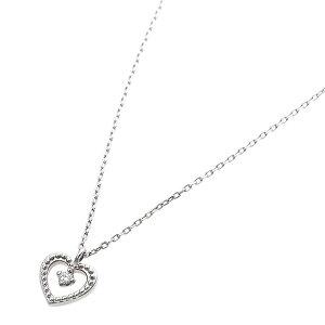 【鑑別書付】プラチナPT900天然ダイヤモンドネックレスダイヤ0.014ctネックレスハート&キューピット(H&C)HアップSIアップハートモチーフ