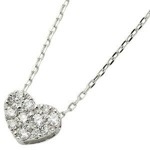 ダイヤモンドネックレスK18ホワイトゴールド0.15ctハートダイヤパヴェネックレスペンダント