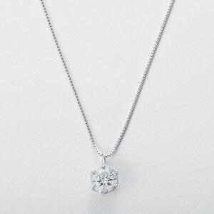 K18WG0.3ctダイヤモンドペンダントベネチアンチェーン(鑑定書付き)