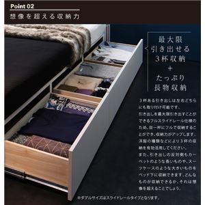 収納ベッドクイーン【Farben】【国産ポケットコイルマットレス付き】ブラックモダンライト・コンセント付き収納ベッド【Farben】ファーベン【代引不可】