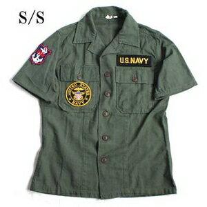 アメリカ軍 OG-107 ファティーグシャツ/半袖 【 13 1/2サイズ :レディースフリー 】 柄/NAVY 【 カスタム 】