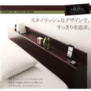 【代引不可】棚・コンセント付き収納ベッド【virzell】ヴィーゼル【マルチラススーパースプリングマットレス付き】シングル(フレームカラー:ダークブラウン)【送料無料】