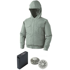 空調服フード付ポリエステル製ワーク空調服大容量バッテリーセットファンカラー:グレー0810G22C07S5【カラー:モスグリーンサイズ:XL】