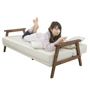 ソファーベッド【シングルサイズ】PVCレザー(合皮)クッション2個/肘付きダークブラウン【代引不可】