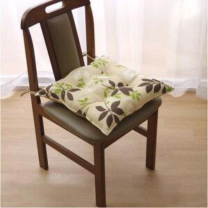 クッション 椅子用 シート リーフ柄 『ウッディ』 ブラック 約43×43cm 2枚組