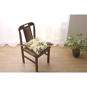クッション 椅子用 シート リーフ柄 『ウッディ』 ブラウン 約43×43cm 2枚組