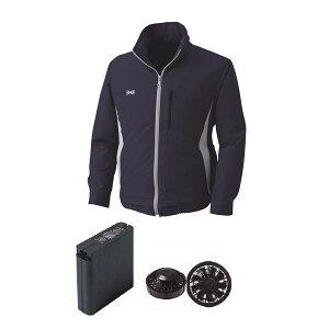 空調服フード付ポリエステル製空調服大容量バッテリーセットファンカラー:ブラック0520B22C03S6【カラー:ネイビーサイズ:4L】