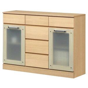 キャビネットB(サイドボード/キッチン収納)【幅111cm】木製ガラス扉付き日本製ナチュラル【完成品】【開梱設置】【代引不可】