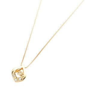 ダイヤモンドペンダント/ネックレス一粒K18イエローゴールド0.1ctダンシングストーンダイヤモンドスウィングネックレス揺れるダイヤが輝きを増す☆雫モチーフ揺れるダイヤ