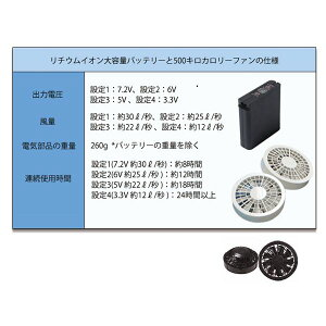 空調服綿・ポリ混紡ツヅキ服大容量バッテリーセットファンカラー:ブラック982LB22C03S7【カラー:ネイビーサイズ:5L】