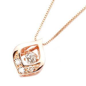 ダイヤモンドペンダント/ネックレス一粒K18ピンクゴールド0.1ctダンシングストーンダイヤモンドスウィングネックレス揺れるダイヤが輝きを増す☆雫モチーフ揺れるダイヤ