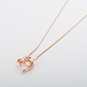 ダイヤモンドペンダント/ネックレス一粒K18ピンクゴールド0.1ctダンシングストーンダイヤモンドスウィングネックレス揺れるダイヤが輝きを増す☆ハートモチーフ揺れるダイヤ