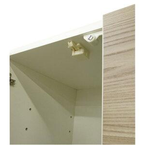ダイニングボード(食器棚)【板扉/上置き付き】幅75cm上台扉耐震ラッチ付き日本製ブラウン【完成品】【代引不可】