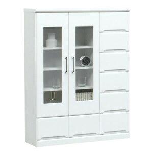 ミドルキャビネット(リビングボード/収納棚)【幅90cm】可動棚付き日本製ホワイト(白)【完成品】【開梱設置】【代引不可】