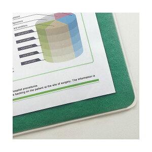 (まとめ)TANOSEE再生透明オレフィンデスクマットダブル(下敷付)1190×690mmグリーン1枚【×5セット】