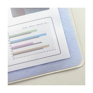(まとめ)TANOSEE再生透明オレフィンデスクマットダブル(下敷付)1190×690mmライトブルー1枚【×5セット】