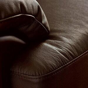 牛本革ハイバック木飾り付きソファー【2人掛けブラウン】肘付き分割式/分解式〔リビング洋室〕