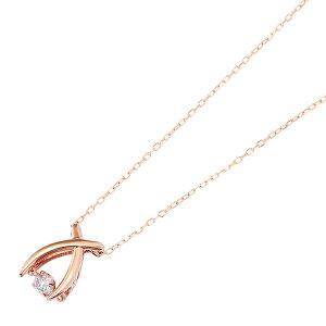 ダイヤモンドペンダント/ネックレス一粒K18ピンクゴールド0.08ctダンシングストーンダイヤモンドスウィングネックレス揺れるダイヤが輝きを増す☆リボンモチーフ揺れるダイヤ
