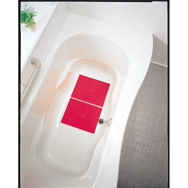 【スーパーセールでポイント最大43倍】アロン化成 入浴マット 安寿吸着すべり止めマットC(2枚入)レッド 9617 535-128