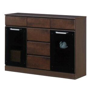 キャビネットB(サイドボード/キッチン収納)【幅111cm】木製ガラス扉付き日本製ダークブラウン【完成品】【代引不可】