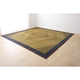 い草ラグ 花ござ カーペット ラグマット 6畳 国産 ブラウン 江戸間6畳 (約261×352cm) 裏:不織布