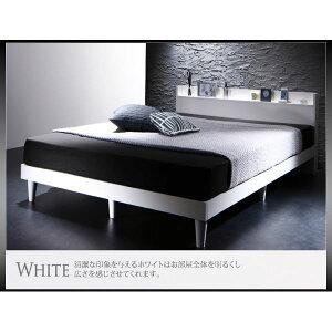すのこベッドダブル【ボンネルコイルマットレス:レギュラー付き】フレームカラー:ホワイトマットレスカラー:ブラック棚・コンセント付きデザインすのこベッドMorgentモーゲント