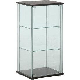 ガラス製 コレクションケース/ショーケース 【3段】 ブラウン 幅42.5cm 硝子製棚板2枚 脚付き 〔什器 店舗〕【代引不可】