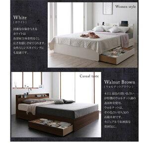 収納ベッドダブル【Splend】【フレームのみ】フレームカラー:ホワイトスリム棚・多コンセント付き・収納ベッド【Splend】スプレンド