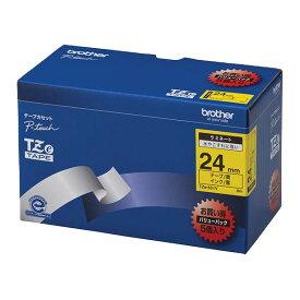 【クーポン配布中】ブラザー工業 TZeテープ ラミネートテープ(黄地/黒字) 24mm 5本パック TZe-651V