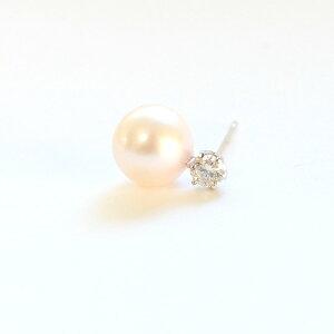 プラチナ7mmあこや真珠0.2ct天然ダイヤモンドピアスパールピアス