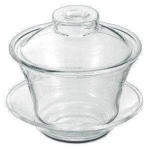 シンプル 蓋碗/茶碗 【150ml】 耐熱ガラス製 ソーサー付き 『アサヒ』 〔台所 キッチン〕
