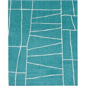 ラグマットカーペット正方形ホットカーペット対応日本製『ジオーニ』ターコイズ190×190cm【代引不可】