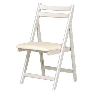 折りたたみ椅子(作業用チェア) 木製×合成皮革/合皮 WS ホワイト(白)【代引不可】