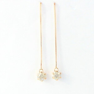 k18ピンクゴールドダイヤモンド0.3ctアメリカンチェーンピアス