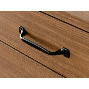 リビングチェスト【4段】幅80cm木製取っ手:ブラック(黒)北欧風木目調日本製ウォールナット【代引不可】