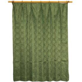 カーテン 洗える ウォッシャブル 洗える 2重加工 円柄 150×丈225cm ダークグリーン カールス 九装