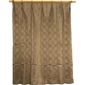 カーテン 洗える ウォッシャブル 洗える 2重加工 円柄 150×丈225cm ブラウン カールス 九装