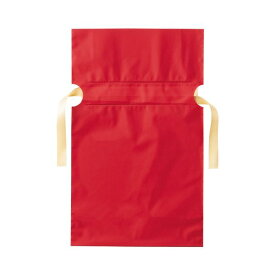 (まとめ)店研創意 ストア・エキスプレス梨地リボン付ギフトバッグ レッド 17cm 1パック(20枚)【×10セット】
