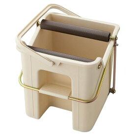 ペダル式 モップ絞り器/掃除道具 【ベージュ】 幅31.4cm 容量12L 目盛り付き 『山崎産業 デイリークリーン タフスクイザー』