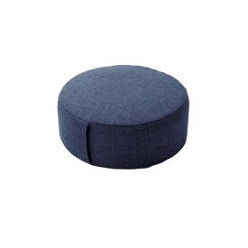 低反発 ミニフロアクッション/座布団 【ラウンドタイプ インディゴブルー】 幅38cm 洗えるカバー付き 低反発ウレタン 〔リビング〕【代引不可】