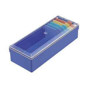 (まとめ) ライオン事務器 名刺整理箱W102×D260×H70mm 800枚収容 青 No.100 1個 【×10セット】