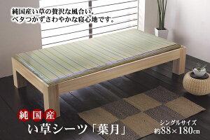 純国産 い草のシーツ(寝ござ) 『葉月』 ブルー シングル約88×180cm【ブルー】 【代引不可】