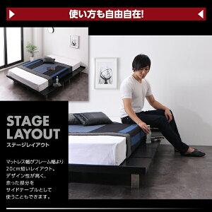 すのこベッドダブル【ボンネルコイルマットレス:レギュラー付きフルレイアウト】フレームカラー:ブラックマットレスカラー:ブラック頑丈デザインすのこベッドT-BOARDティーボード
