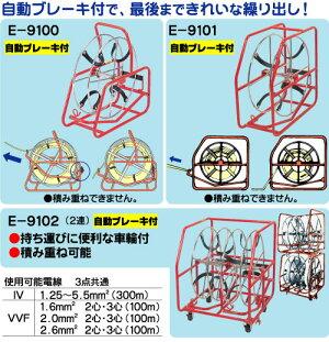 電線リール【リール径:φ450mm】自動ブレーキ付きプロメイトE-9100