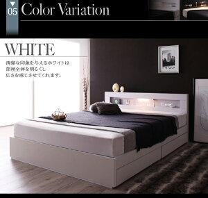 収納ベッドセミダブル【Estado】【フレームのみ】ホワイトLEDライト・コンセント付き収納ベッド【Estado】エスタード